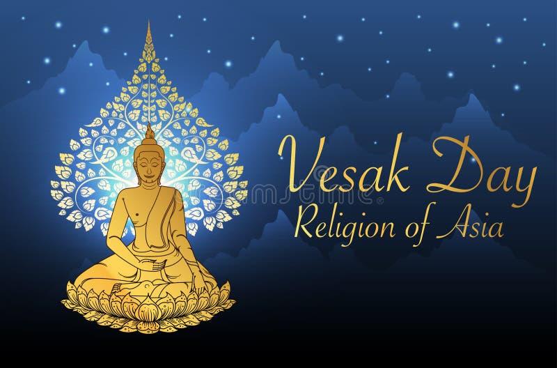 Buddha i Bodhi drzewny złocisty kolor tajlandzka tradycja, vesak dzień ilustracji