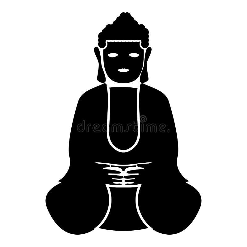 Buddha ikony czerni koloru ilustraci mieszkania stylu prosty wizerunek ilustracji