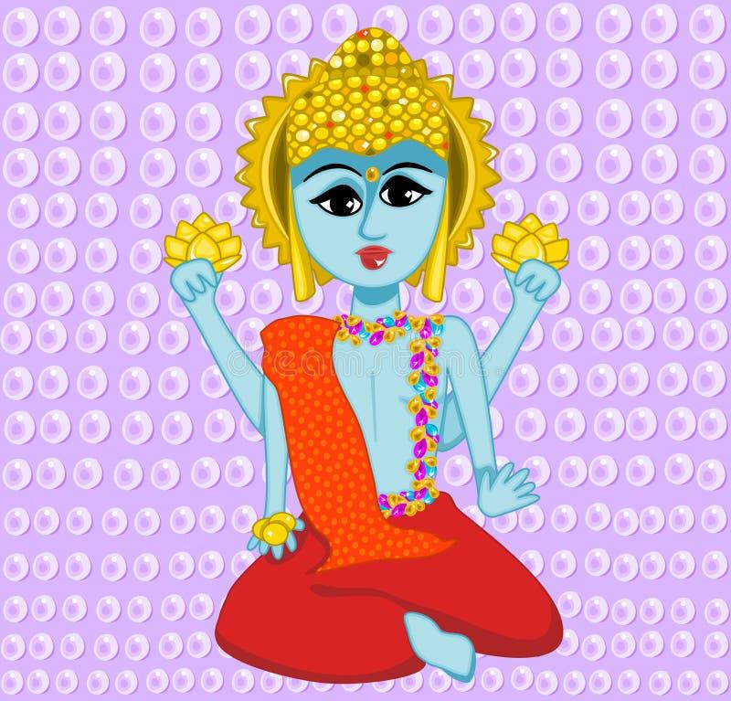 Buddha. Illustration colorful blue Buddha posing with yellow jeweled head dressing vector illustration