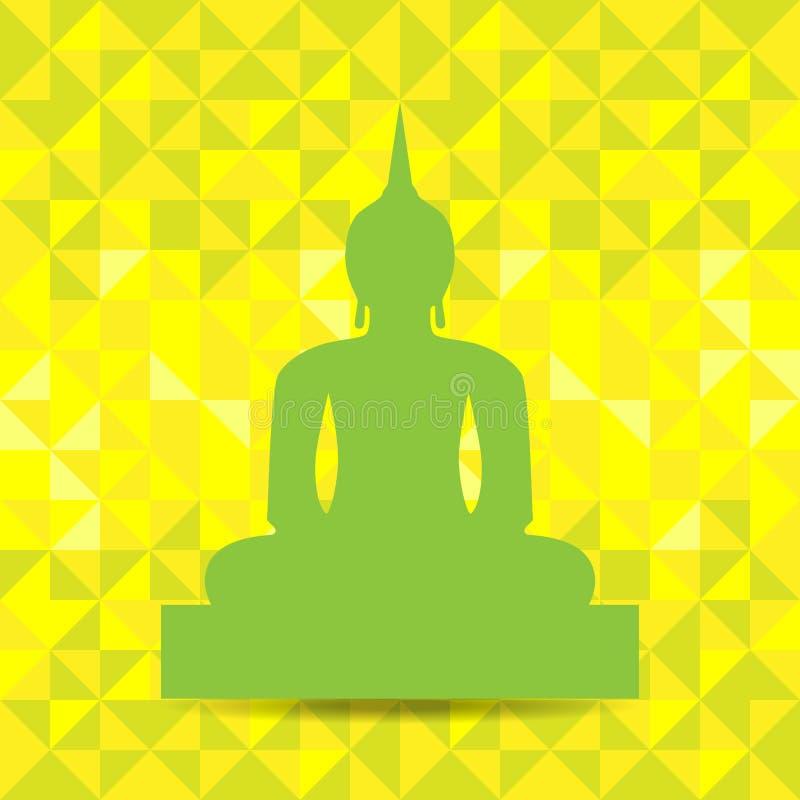 Buddha Image Abstract Background. Green Buddha Image isolated on yellow abstract background. Vector. Illustration royalty free illustration