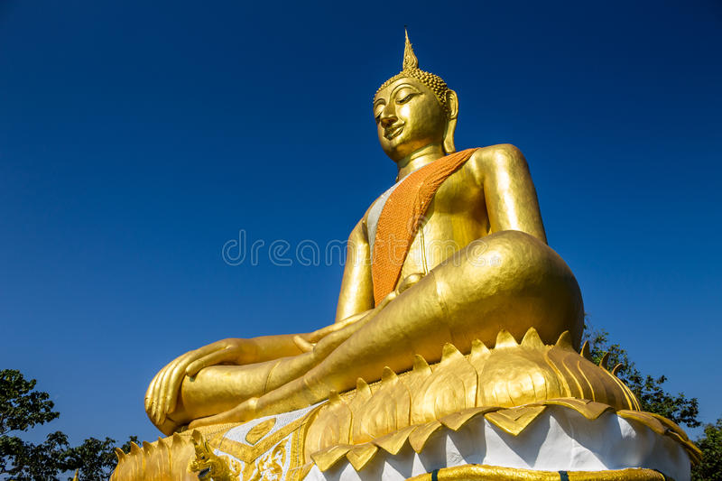 Buddha Image. ChiangMai, Thailand. January, 19-2017: Buddha image was located on the top of a mountain in meditation form royalty free stock photos