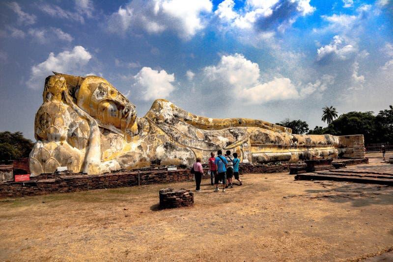 Buddha image of a large sleeping prang In tourist places, Ayutthaya Province stock photo