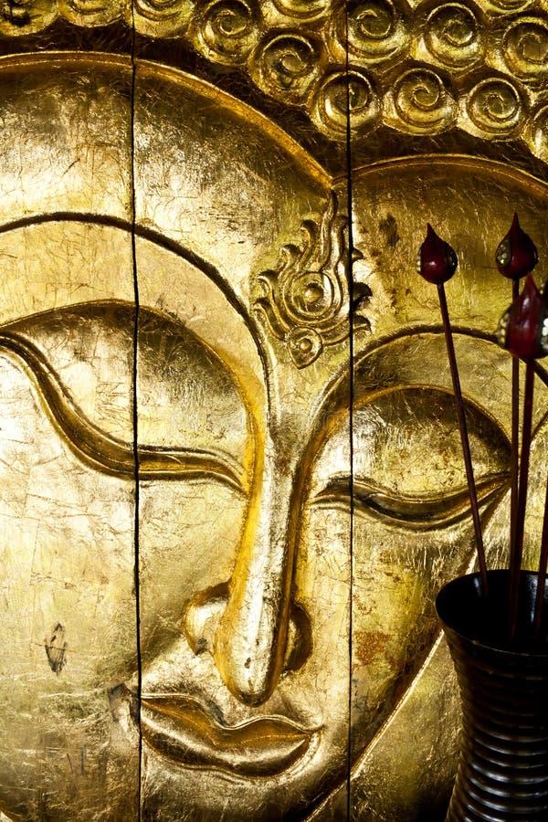 Buddha image in thai style wood cw stock image