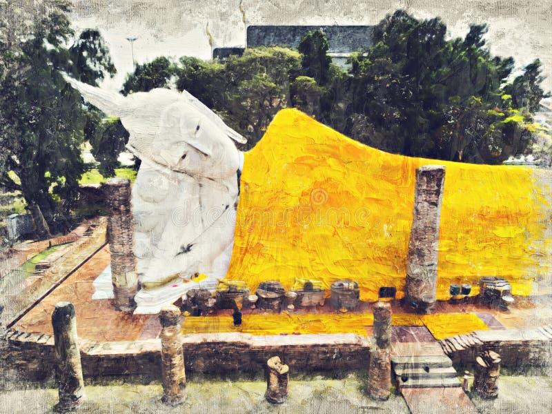 Buddha Image in Wat Khun Intha Pramun temple at at Angthong Province, Historical Park, Thailand. Digital Art Impasto Oil Painting vector illustration
