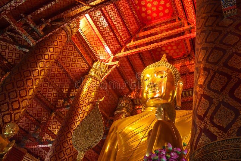 Buddha image in Wat Phanan Choeng temple. In Ayutthaya, Thailand royalty free stock photography