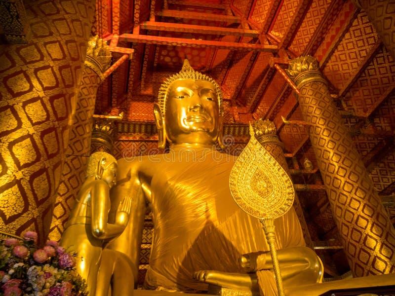Buddha image in Wat Phanan Choeng Temple, AYUTTHAYA, THAILAND - Nov 2018 royalty free stock photography