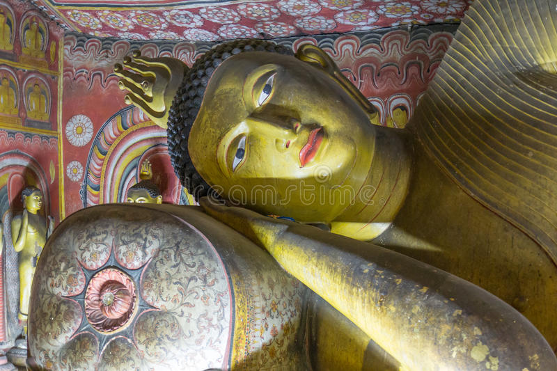 Buddha images in dambulla. Ancient Buddha images in Dambulla Rock Temple caves, Sri Lanka royalty free stock photography