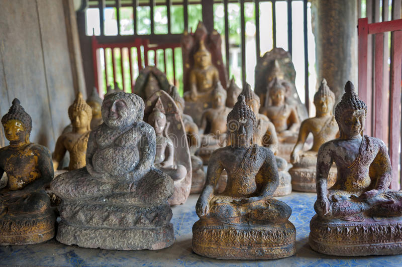 Buddha images at Wat Mahathat Temple in downtown Yasothon, northeastern Isan province of Thailand. Buddha images inside Ho Trai or the library of Buddhist royalty free stock image