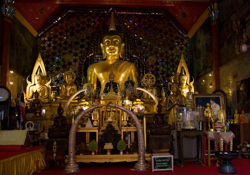 Buddha images at Wat Phrathat Doi Suthep, Thailand stock photography