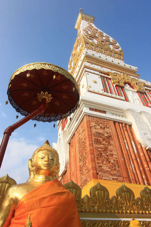 Buddha infront of Phra that Phanom stock images
