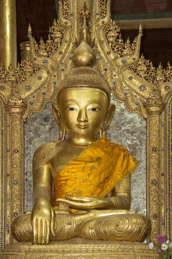 Buddha - Jumping Cat Monastery - Myanmar (Burma). Buddha image in the Nga Phe Kyaung Monastery at Inle Lake in Myanmar (Burma). Also known as the Jumping Cat stock photography