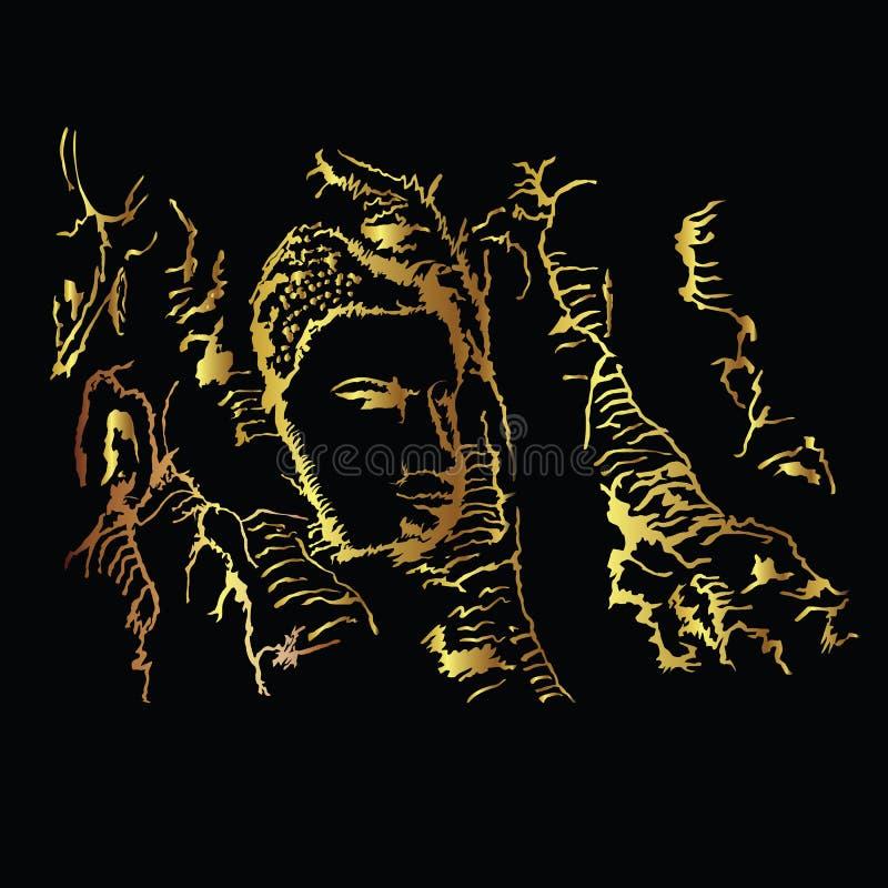 Buddha-Kopf eingebettet in einem Banyanbaum vektor abbildung