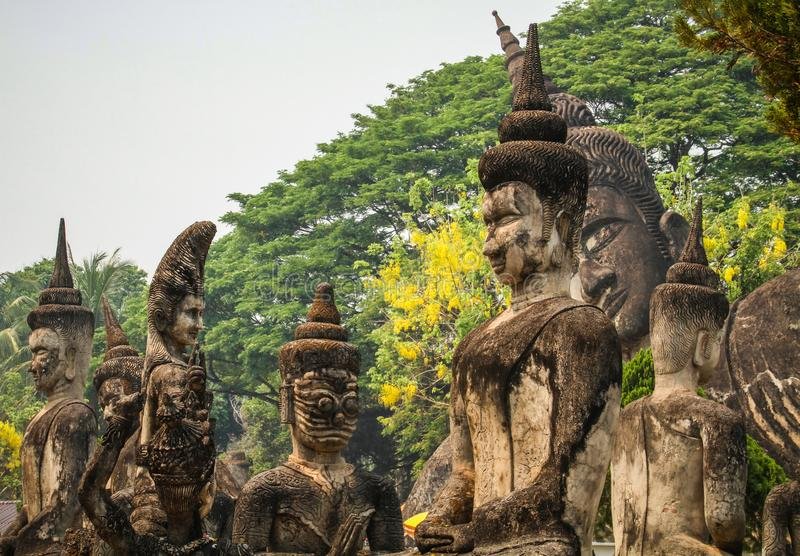 Buddha lapida le statue, parco di Buddha, Vientiane, Laos fotografia stock libera da diritti