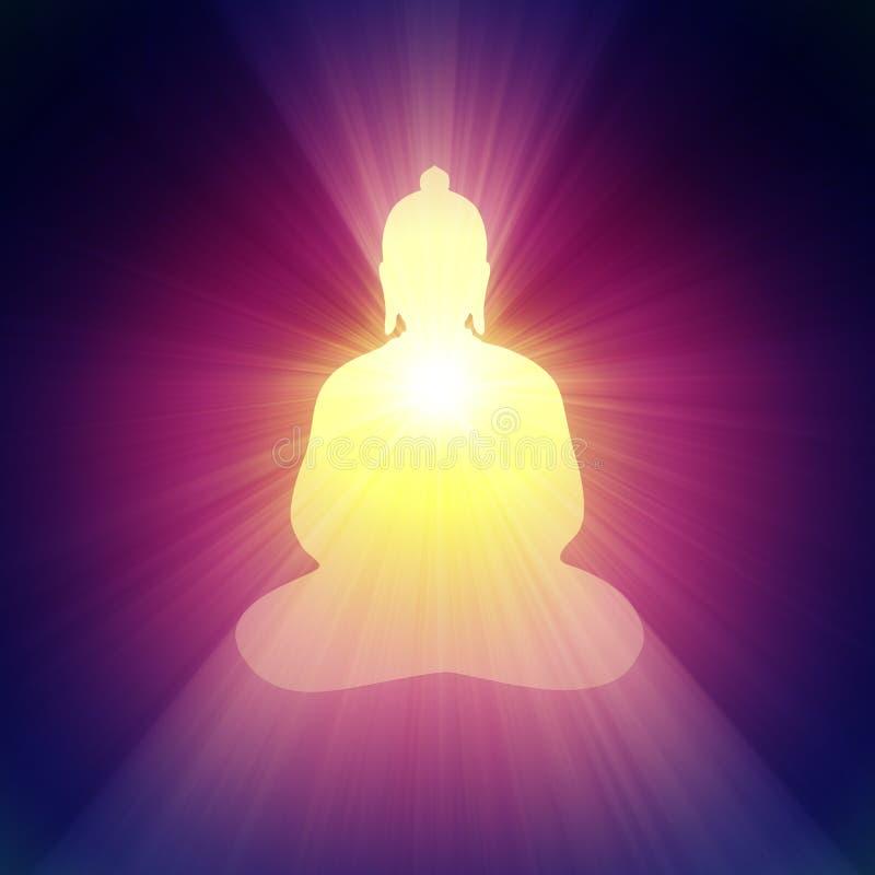 Buddha light halo glowing bright flare royalty free illustration