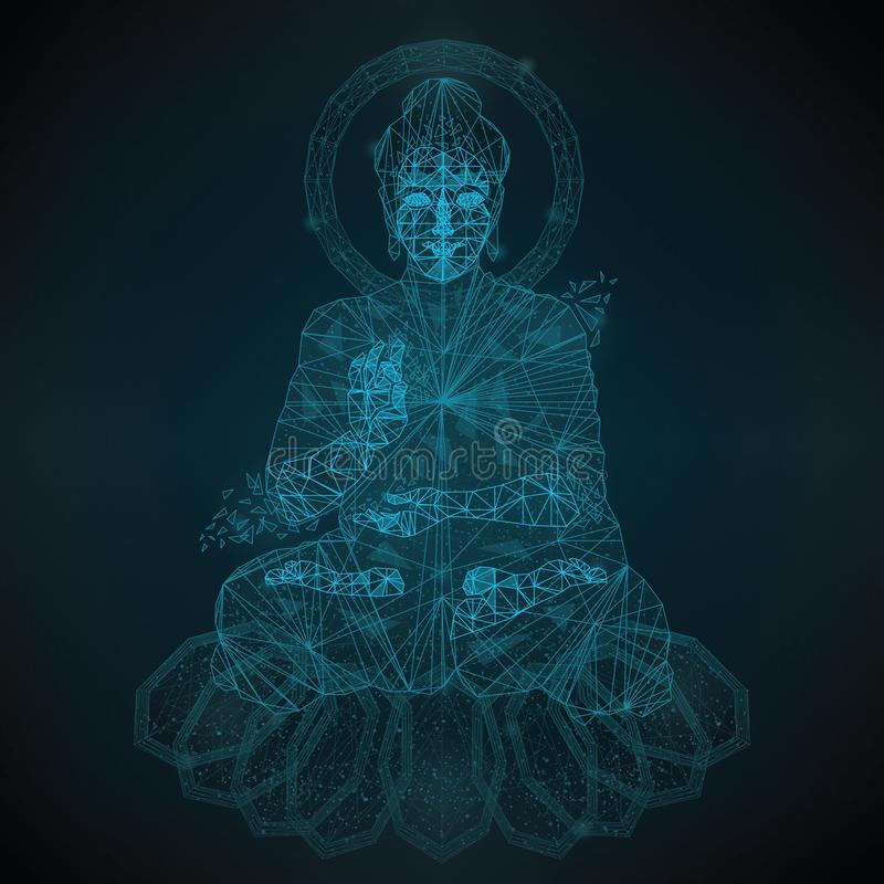 Buddha low poly. Abstract low polygon is an image of Buddha from points of straight and stars in the form of a constellation against the background of the night stock illustration