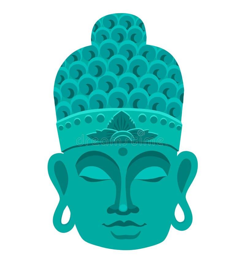 Buddha mask blue color vector illustration