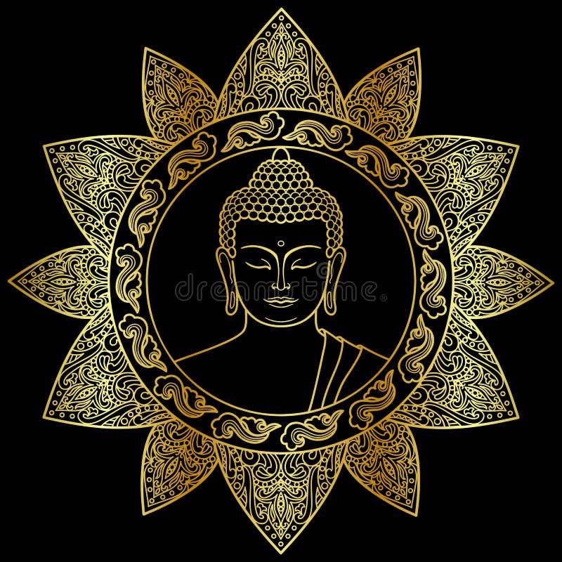 Buddha med den blom- dekoren vektor illustrationer
