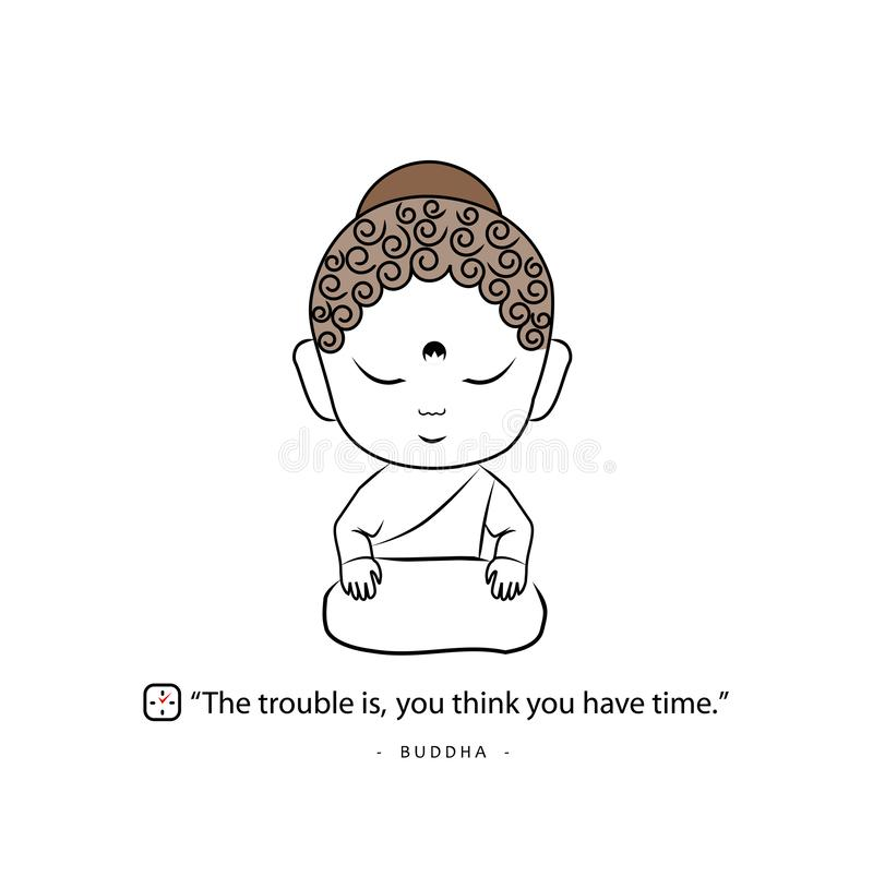 Buddha med ett ordspråk om tid royaltyfri illustrationer