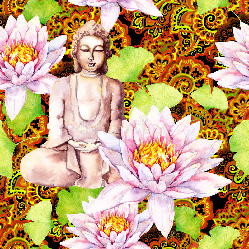 Buddha med lotusblomma, sidor, dekorativ design seamless modell vattenfärg royaltyfri bild
