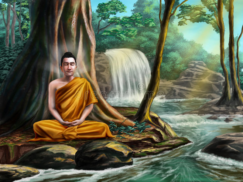 Buddha meditating royalty free illustration