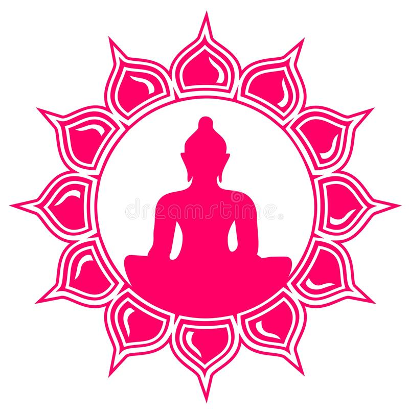 Buddha - meditation - lotusblommablomma stock illustrationer