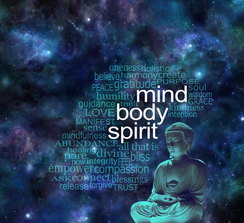 Mind Body Spirit Cosmic Buddha Word Cloud stock photography