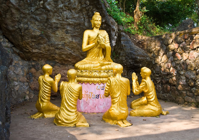 Buddha and monks statue meditaing, Laos. royalty free stock photos