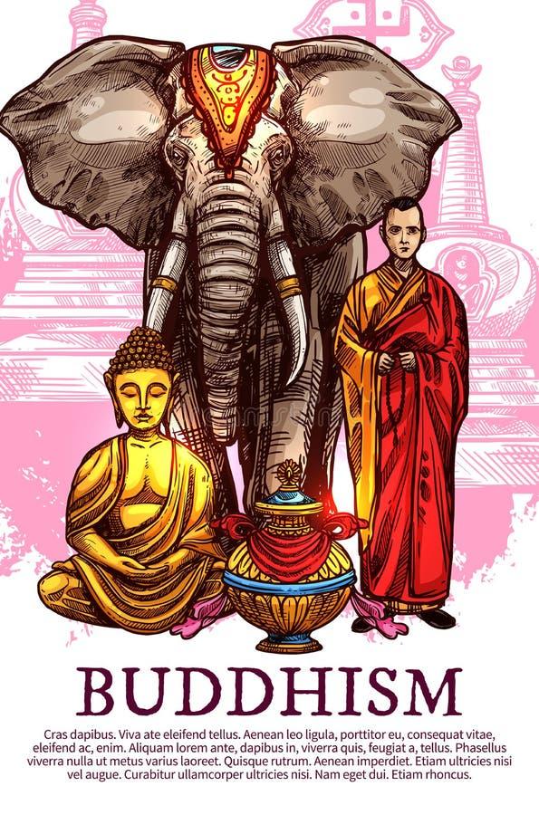 Buddha, munk, vas och elefant royaltyfri illustrationer