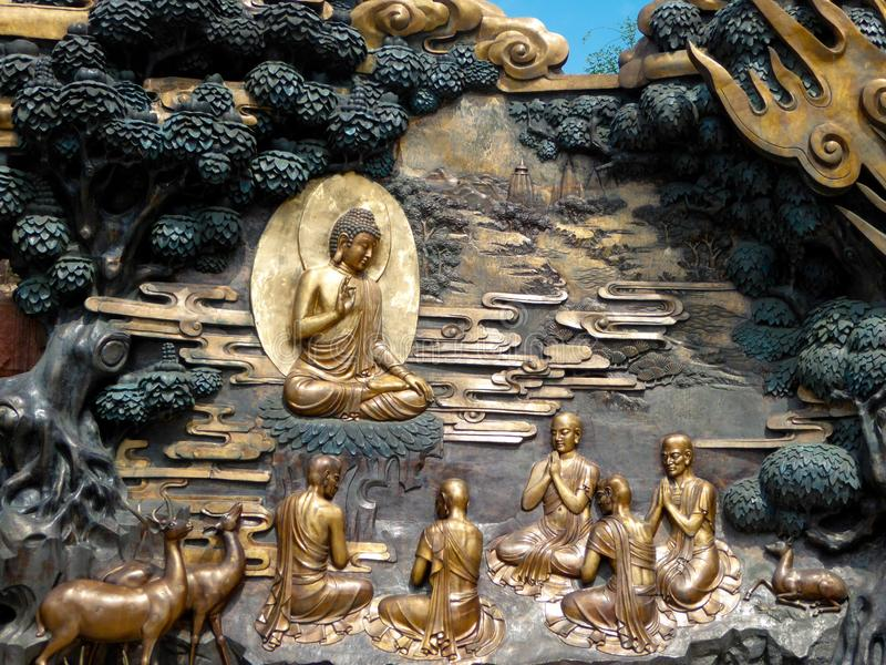 Buddha Murals Lingshan Bronze His Disciples Deers Statue Wuxi City Jiangsu Province China Grand At