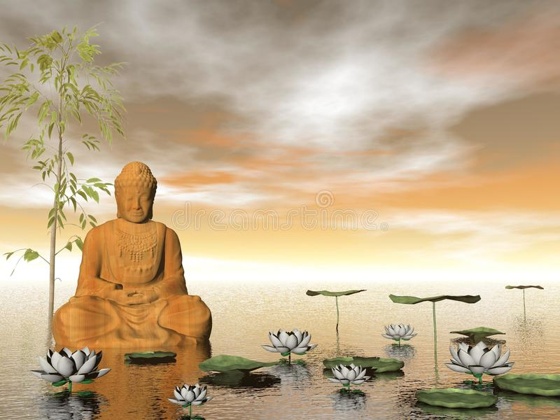 Buddha in nature - 3D render royalty free illustration