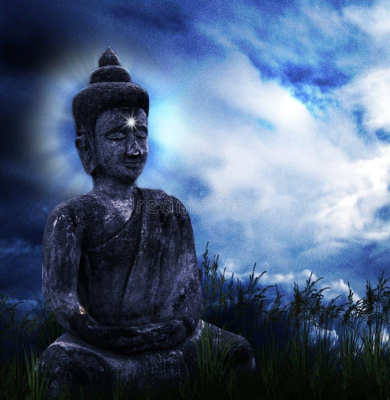 Buddha nell'erba royalty illustrazione gratis