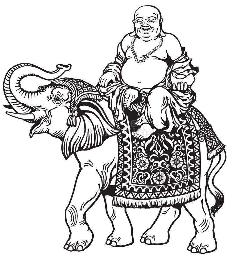 Buddha och elefant royaltyfri illustrationer