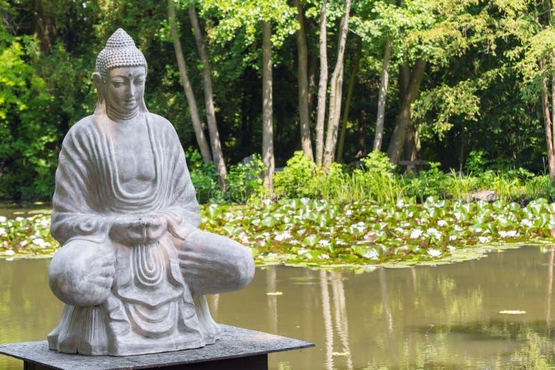 Buddha och lotusblommasjön royaltyfri foto