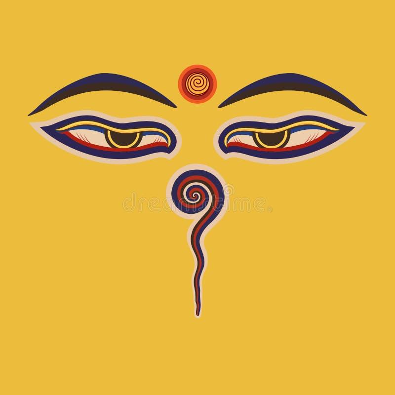 Buddha oczy Nepal royalty ilustracja