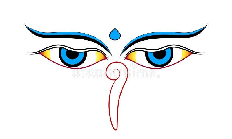 Buddha oczy odizolowywający na białym tło wektorze royalty ilustracja