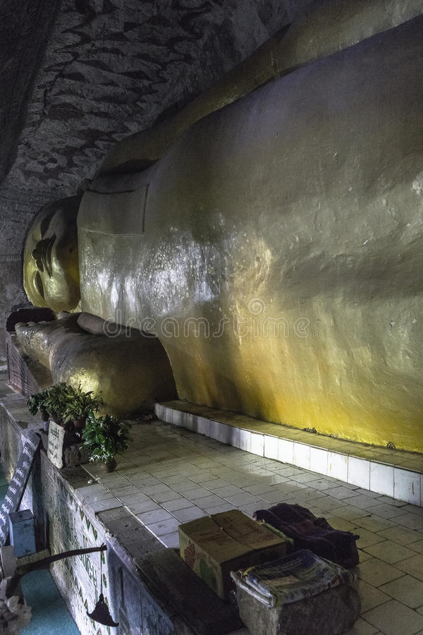 Buddha in old monastery stock photography