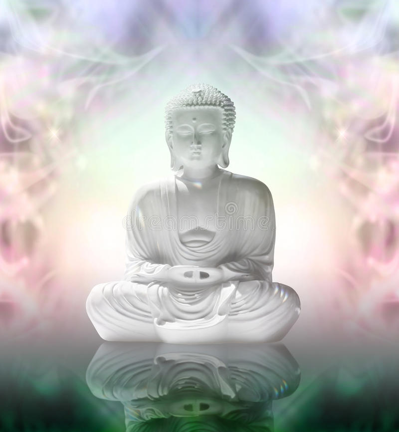 Buddha in peaceful meditation. White statue of Buddha in lotus position on a highly reflective surface and a white light an energy formation background stock images