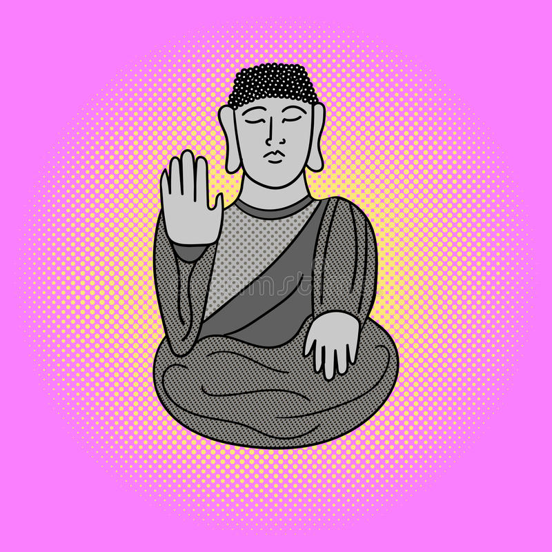 Buddha-Pop-Arten-Vektorillustration stock abbildung