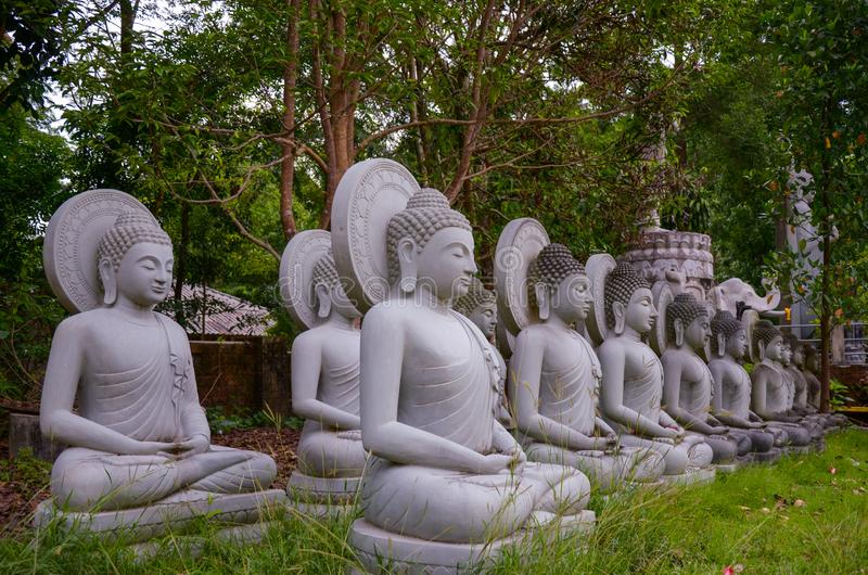 Buddha Prang Meditation lined in a forest park at Wat Pa Sawang Bun , Saraburi , Thailand. Ancient, architecture, art, asia, asian, buddhism, buddhist, culture royalty free stock photos