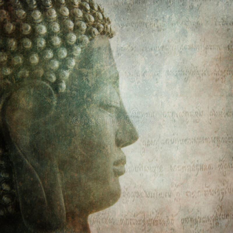 Buddha profile grunge words royalty free stock photos