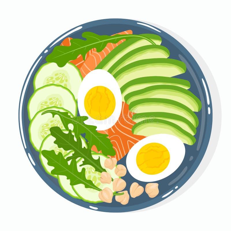 Buddha puchar z avocado, łosoś, ogórek, jajka, chickpeas, rucola, odizolowywający Odg?rny widok Wektorowa r?ka rysuj?ca ilustracj ilustracji