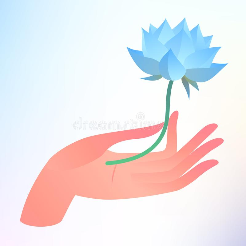 Buddha Purnima or Vesak card. Vector illustration with hand holding lotus flower on light background. stock illustration