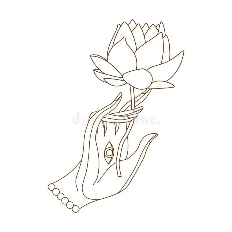 Buddha ręka z lotosem royalty ilustracja