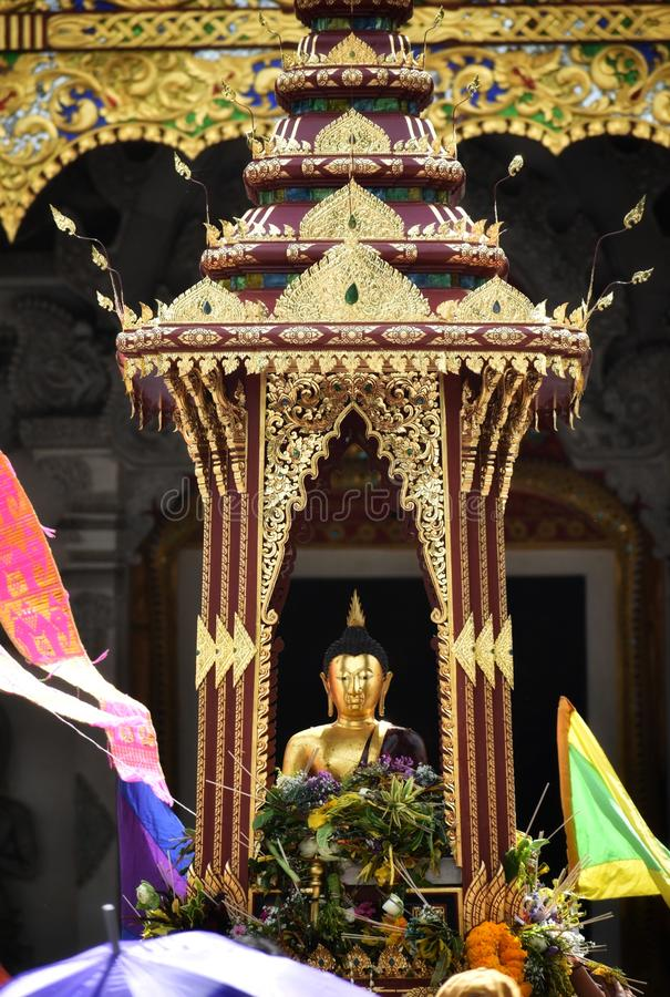 `Pra Chao Fon San Ha` from Chang Tam temple in Inthakin city pillar festival Sai Khan Dok. Buddha of rain or Thai say `Pra Chao Fon San Ha` from Chang Tam temple royalty free stock photography