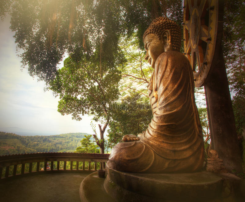 Buddha Reaching Enlightment. Buddha Bronze Statue with a Dhyana Mudra Gesture royalty free stock image