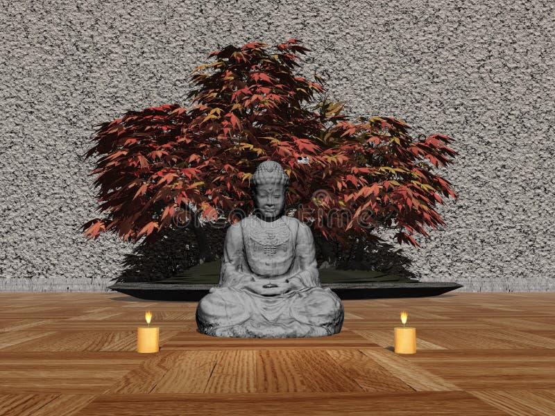 Buddha in a room - 3D render vector illustration