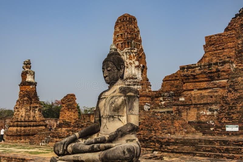 Close-up of Buddha and Ayutthaya ruins. Thailand royalty free stock photos