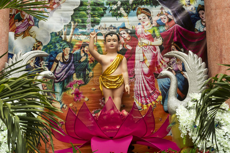 Buddha`s Birthday celebration. Buddha`s Birthday is a holiday traditionally celebrated in Mahayana Buddhism to commemorate the birth of the Prince Siddhartha stock photo