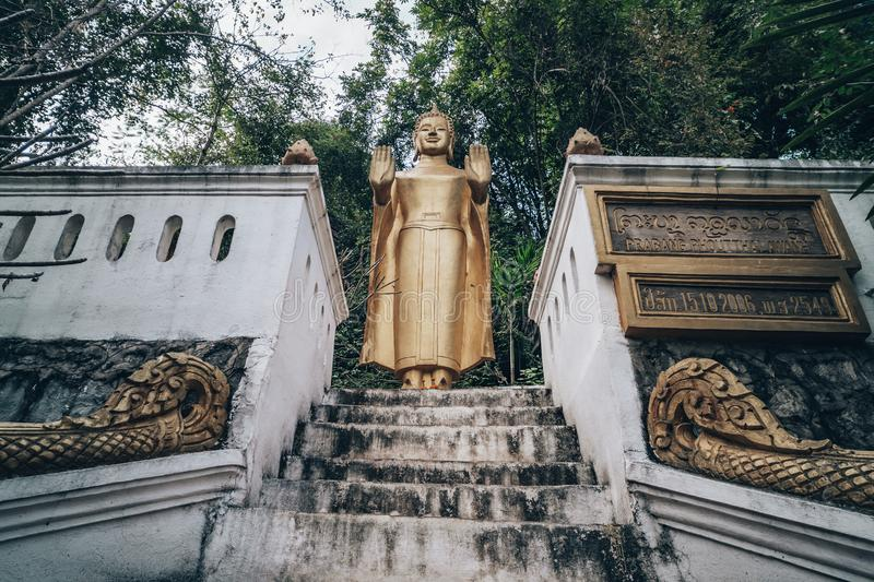 Buddha's Footprint Temple at Luang Prabang. Laos royalty free stock photo