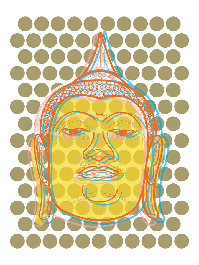 Buddha's head pop art dots royalty free stock photos